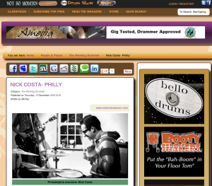 """Nick Costa feature in the """"Working Drummer"""" section of Not So Modern Drummer Magazine"""