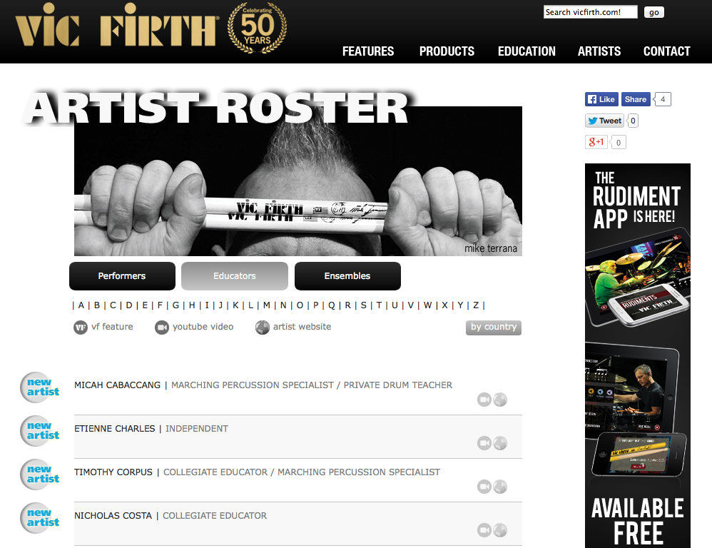 Nick Costa on the Vic Firth Educational Artist Page