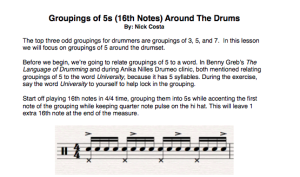 Grouping of 5s (16th Notes) intro