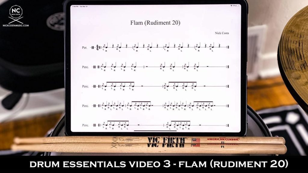 Drum Essentials Video 3 the flam (rudiment 20) from NickCostaMusic.com nick costa drums nick costa music drum lessons free drum lesson flam drum rudiments