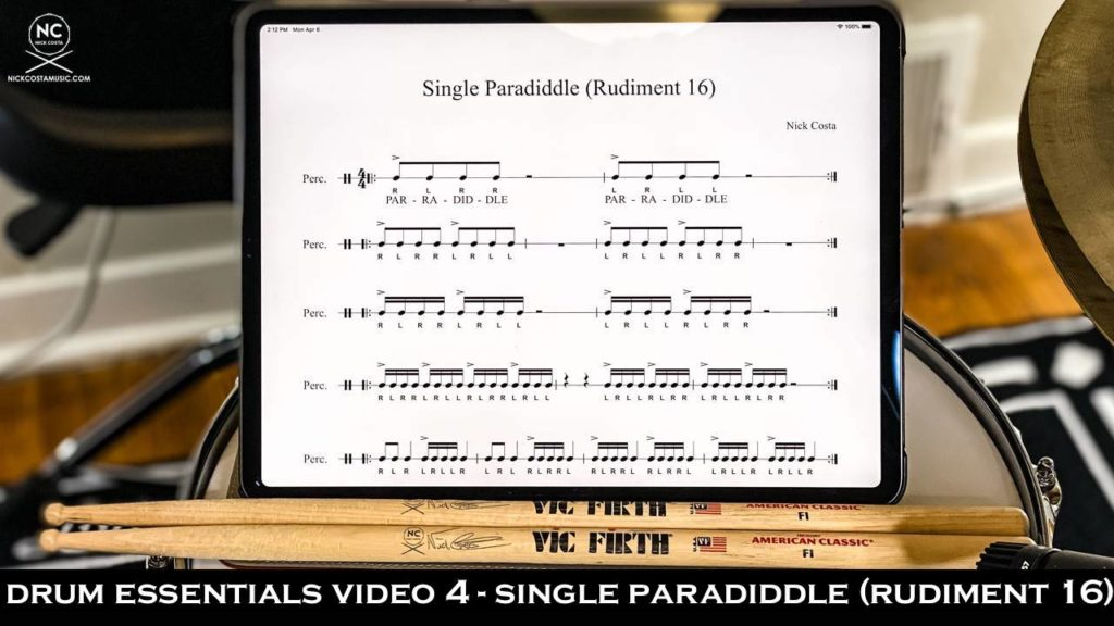 Video 4 from the Drum Essentials section of NickCostaMusic.com. Covering how to play the single paradiddle nick costa nick costa music nick costa drums drum lesson paradiddle rudiment free drum lesson