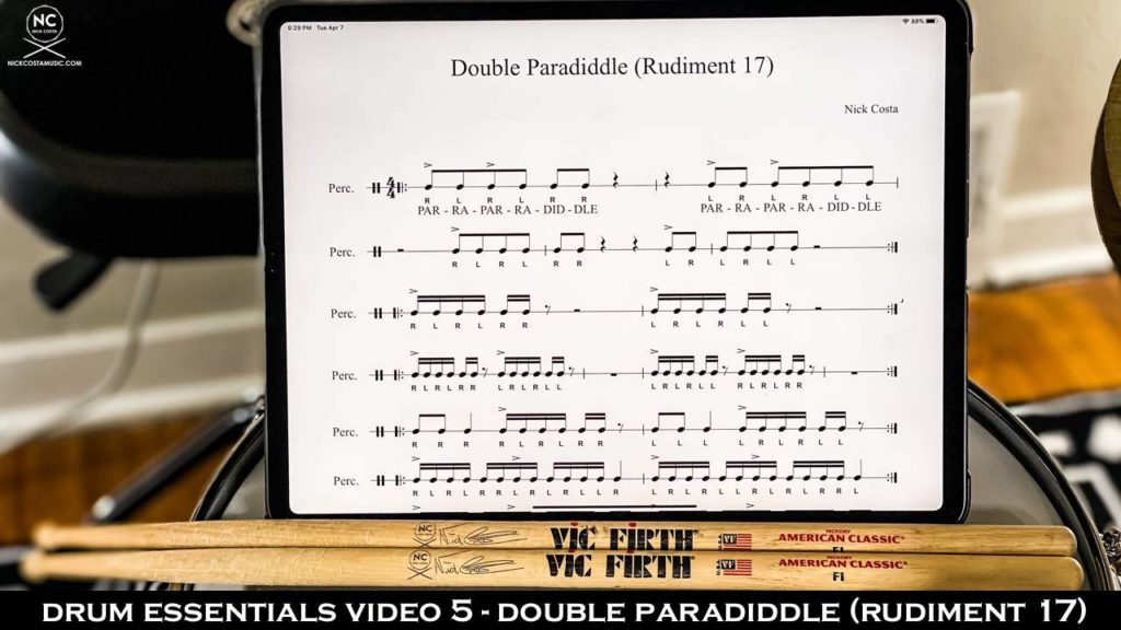 Drum Fundamentals Video 5 - Double Paradiddle (Rudiment 17) NickCostaMusic.com nick costa music nick costa drums nick costa teacher drum lesson drum fundamentals drum rudiments