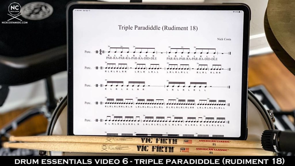 Drum Fundamentals Video 6 - Triple Paradiddle (Rudiment 18) NickCostaMusic.com nick costa music nick costa drums nick costa teacher drum lesson drum fundamentals drum rudiments