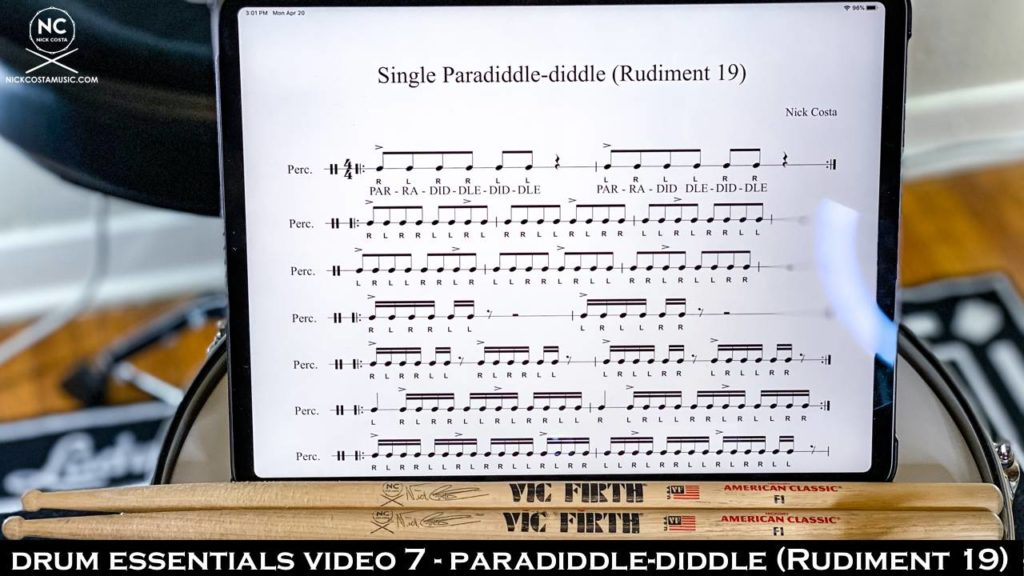 Drum Fundamentals Video 7 - Paradiddle-Diddle (Rudiment 19) NickCostaMusic.com nick costa music nick costa drums nick costa teacher drum lesson drum fundamentals drum rudiments