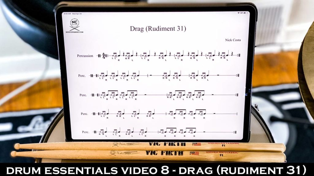 Drum Fundamentals Video 8 - Drag (Rudiment 31) NickCostaMusic.com nick costa music nick costa drums nick costa teacher drum lesson drum fundamentals drum rudiments