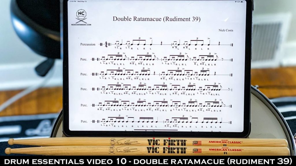Drum Fundamentals Video 10 - Double Ratamacue (Rudiment 39) NickCostaMusic.com nick costa music nick costa drums nick costa remo nick costa vic firth nick costa ludwig nick costa zildjian nick costa drums nick costa music nick costa drum teacher drum lesson free drum lesson drum rudiments
