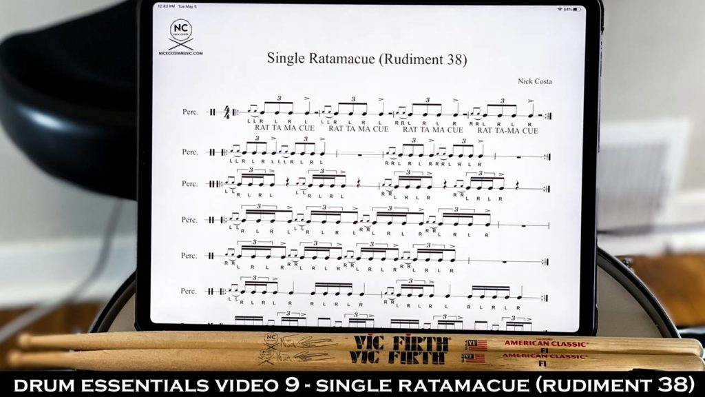 Drum Fundamentals Video 9 - Single Ratamacue (Rudiment 38) NickCostaMusic.com nick costa music nick costa drums nick costa remo nick costa vic firth nick costa ludwig nick costa zildjian nick costa drums nick costa music nick costa drum teacher drum lesson free drum lesson drum rudiments
