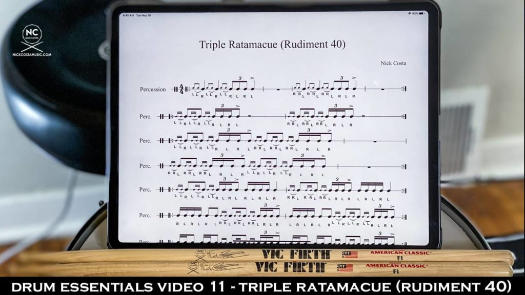 Drum Essentials Video 11 - Triple Ratamacue (Rudiment 40) NickCostaMusic.com nick costa music nick costa drums nick costa remo nick costa vic firth nick costa ludwig nick costa zildjian nick costa drums nick costa music nick costa drum teacher drum lesson free drum lesson drum rudiments