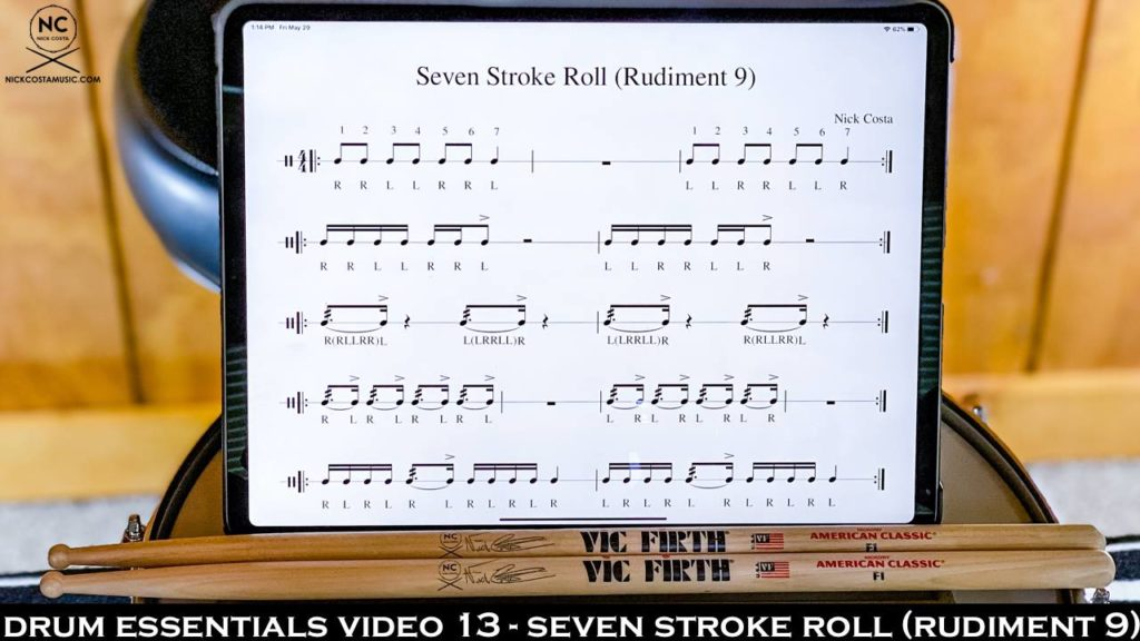 Drum Essentials Video 13 - Seven Stroke Roll (Rudiment 9) NickCostaMusic.com nick costa music nick costa drums nick costa remo nick costa vic firth nick costa ludwig nick costa zildjian nick costa drums nick costa music nick costa drum teacher drum lesson free drum lesson drum rudiments