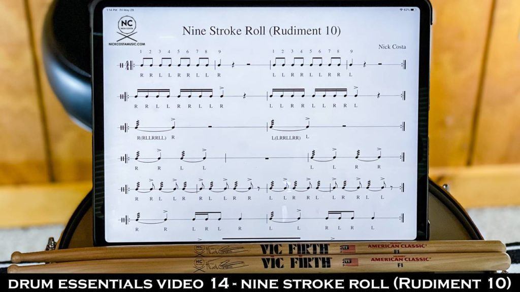 Drum Essentials Video 14 - Nine Stroke Roll (Rudiment 10) NickCostaMusic.com nick costa music nick costa drums nick costa remo nick costa vic firth nick costa ludwig nick costa zildjian nick costa drums nick costa music nick costa drum teacher drum lesson free drum lesson drum rudiments