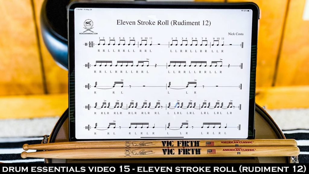 Drum Essentials Video 15 - Eleven Stroke Roll (Rudiment 12) NickCostaMusic.com nick costa music nick costa drums nick costa remo nick costa vic firth nick costa ludwig nick costa zildjian nick costa drums nick costa music nick costa drum teacher drum lesson free drum lesson drum rudiments