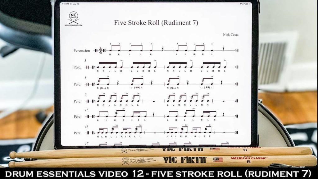 Drum Essentials Video 12 - Five Stroke Roll (Rudiment 7) NickCostaMusic.com nick costa music nick costa drums nick costa remo nick costa vic firth nick costa ludwig nick costa zildjian nick costa drums nick costa music nick costa drum teacher drum lesson free drum lesson drum rudiments