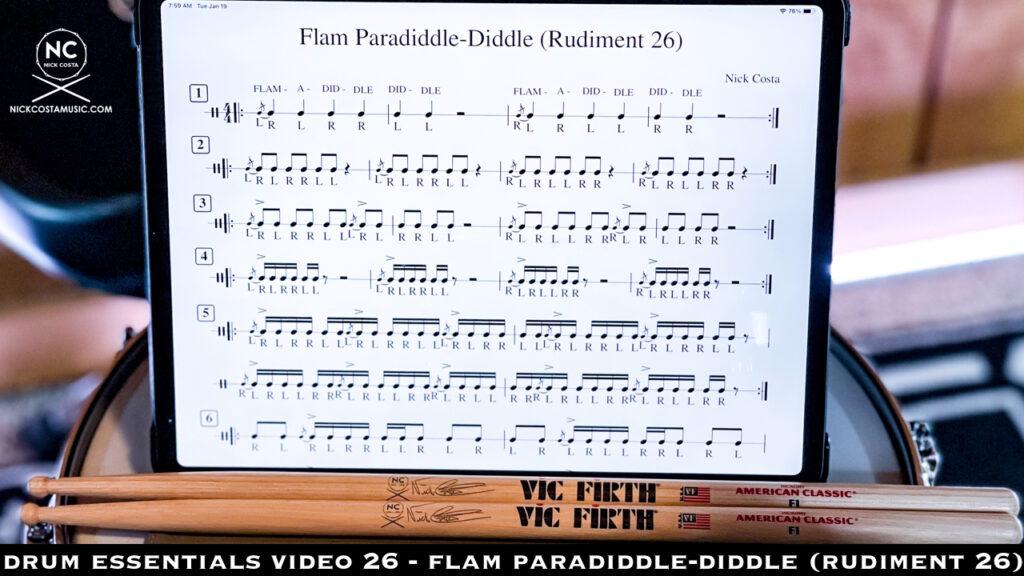 Drum Essentials Video 26 - Flam Paradiddle-Diddle (Rudiment 26) NickCostaMusic.com nick costa music nick costa drums nick costa remo nick costa vic firth nick costa ludwig nick costa zildjian nick costa drums nick costa music nick costa drum teacher drum lesson free drum lesson drum rudiments